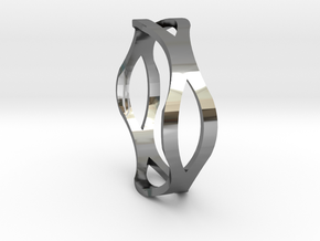 Curvy Round Ring in Fine Detail Polished Silver: 10 / 61.5