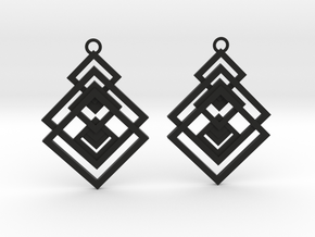Geometrical earrings no.17 in Black Natural Versatile Plastic: Medium
