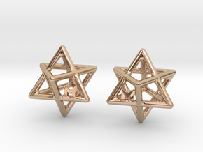 MILOSAURUS Tetrahedral 3D Star of David Earrings in 14k Rose Gold
