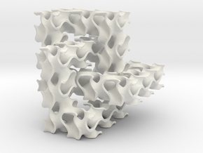 Cubic Trefoil Knot with Gyroid in White Natural Versatile Plastic
