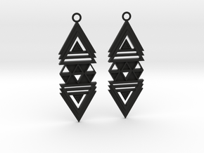 Geometrical earrings no.19 in Black Natural Versatile Plastic: Medium