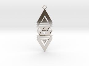 Geometrical pendant no.19 in Rhodium Plated Brass: Medium