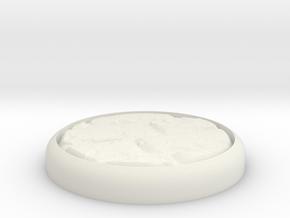 "Cobblestone 1"" Circular Miniature Base Plate in White Natural Versatile Plastic"