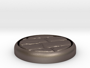 """Cobblestone 1"""" Circular Miniature Base Plate in Polished Bronzed-Silver Steel"""