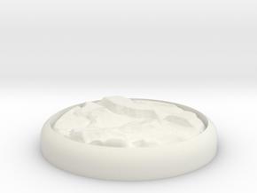 "Rocky 1"" Circular Miniature Base Plate in White Natural Versatile Plastic"