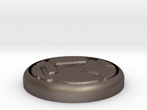 """Tech Panel 1"""" Circular Miniature Base Plate in Polished Bronzed-Silver Steel"""