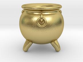Cauldron miniature in Natural Brass