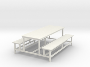 School Bench in White Natural Versatile Plastic