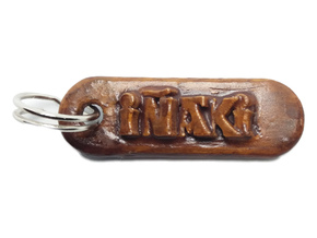 IÑAKI Personalized keychain embossed letters in White Natural Versatile Plastic