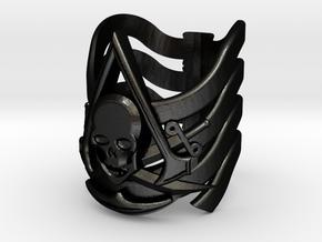 AC Black Flag Ring 15-22 in Matte Black Steel: 4.75 / 48.375