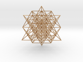 64 Tetrahedron Grid 5 cm. in Polished Bronze