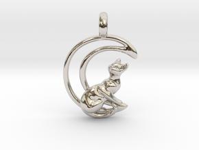Moon Cat Pendant in Rhodium Plated Brass