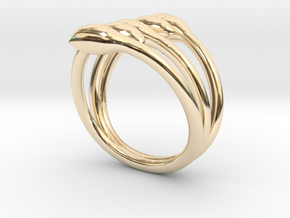 Crossed seeds ring in 14K Yellow Gold