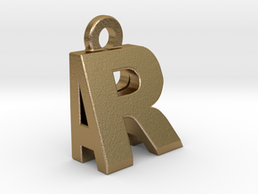 3D Dual Initial Letter Pendant - RA in Polished Gold Steel