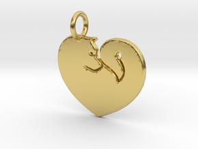 Akita Heart Pendant in Polished Brass