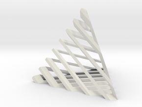 Striped tetrahedron no. 1 in White Natural Versatile Plastic