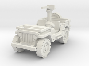 Jeep Willys 30 cal (window down) 1/87 in White Natural Versatile Plastic
