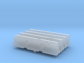 Jersey barrier (x4) 1/87 in Smooth Fine Detail Plastic