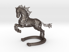 Rocinante Horse Sculpture in Polished Bronzed-Silver Steel