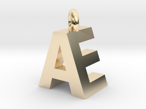 AE Pendant top in 14k Gold Plated Brass