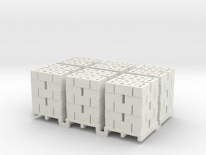 Pallet Of Cinder Blocks 5 High 6 Pack 1-87 HO Scal in White Natural Versatile Plastic