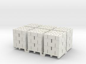 Pallet Of Cinder Blocks 5 High 6 Pack 1-87 HO Scal in White Natural Versatile Plastic
