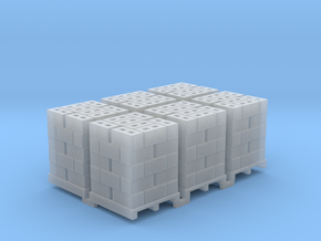 Pallet Of Cinder Blocks 5 High 6 Pack 1-87 HO Scal in Smooth Fine Detail Plastic