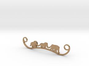 Elephant Line Pendant in Polished Brass
