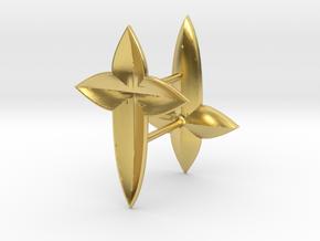 De Lys Cross Earring set in Polished Brass