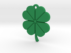 Pendant for Luck -- Four Leaf Clover in Green Processed Versatile Plastic