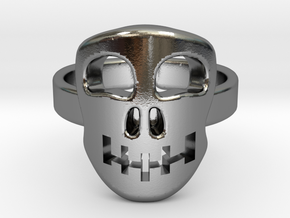 Skull mask [sizable ring] in Polished Silver