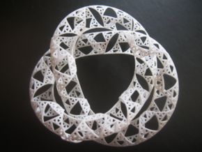 Trefoil Knot with Sierpinski Triangles in White Natural Versatile Plastic