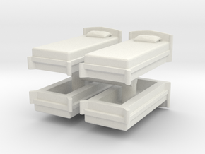 Single Bed (x4) 1/100 in White Natural Versatile Plastic