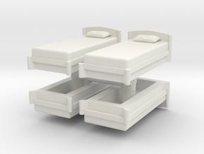 Single Bed (x4) 1/72 in White Natural Versatile Plastic