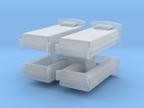 Single Bed (x4) 1/43 in Smooth Fine Detail Plastic