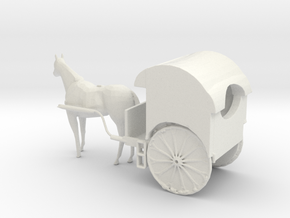 S Scale Horse Drawn Two Wheel Buggy in White Natural Versatile Plastic