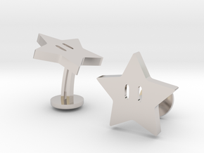 Super Mario Star Cufflinks in Rhodium Plated Brass