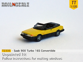 Saab 900 Turbo 16S Convertible (TT 1:120) in Smooth Fine Detail Plastic