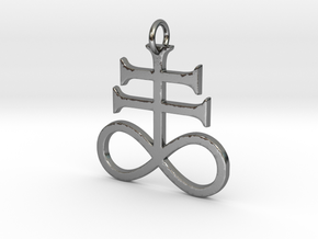 Leviathan Cross Pendant in Polished Silver