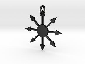 Chaos Star Pendant in Matte Black Steel