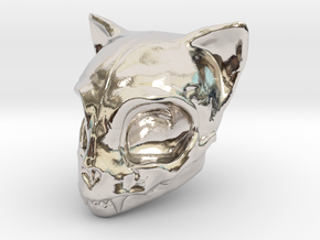 Cat Skull in Rhodium Plated Brass
