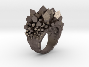 Double Crystal Ring Size 8 in Polished Bronzed Silver Steel