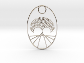 Fractal Tree Oval Pendant Redux in Rhodium Plated Brass