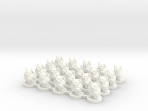 6mm - Pigmen with Machine guns x 20 in White Processed Versatile Plastic