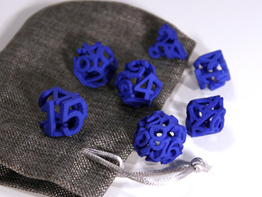 Hollow Dice in Blue Processed Versatile Plastic: Polyhedral Set