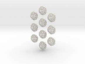10d10 Thorn Dice Set in White Natural Versatile Plastic