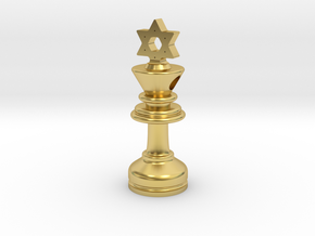 MILOSAURUS Jewelry David Star Chess King Pendant in Polished Brass