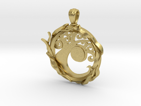 Simic Pendant in Natural Brass