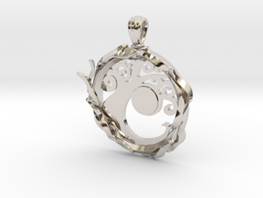 Simic Pendant in Rhodium Plated Brass