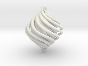 Twist Pendant in White Natural Versatile Plastic